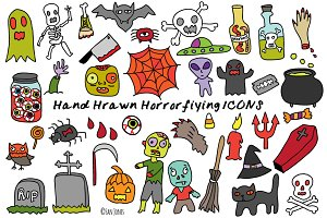 Hand drawn Halloween Horror icons