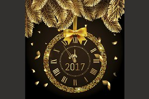 Vector 2017 shiny New Year Clock