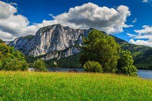 Summer landscape with alpine lake