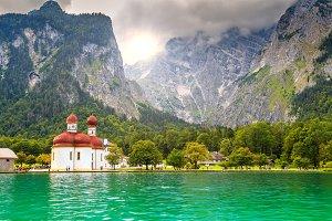 Konigsee lake with mountains