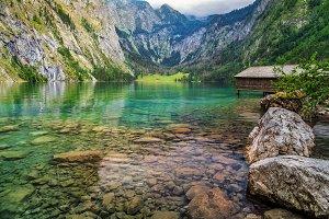 Boat dock on Obersee alpine lake