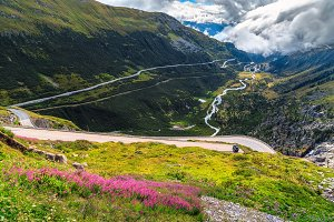 Furka pass with curved road