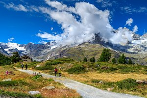 Alpine hiking trails with hikers
