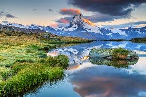 Stellisee alpine lake and Matterhorn
