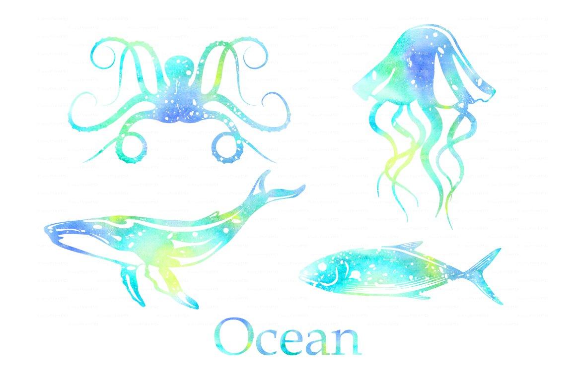Ocean Animals Watercolor Png Eps Illustrations