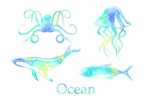 Ocean animals Watercolor PNG EPS
