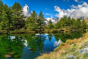 Alpine landscape and Grindjisee lake