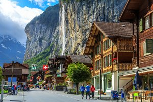 Lauterbrunnen town and waterfalls
