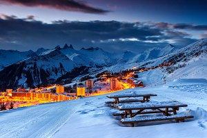 Winter French ski resort