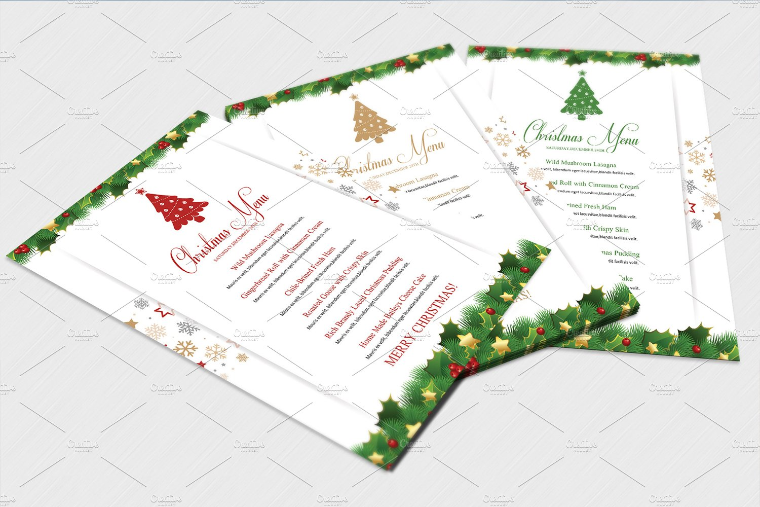 Christmas Menu Template V448 Flyer Templates Creative Market