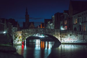 Bruges city at night