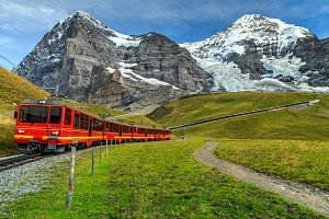 Electric red train in Switzerland