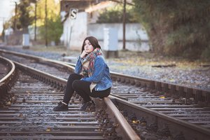 Young Girl in Railroad