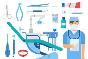 Vector dentist tools