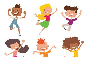 Jumping cheerful child vector