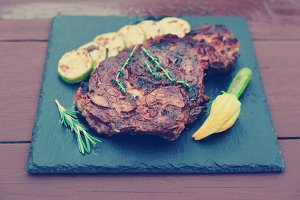 Rib-eye steak with vegetables