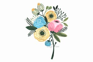 Flower Bouquet Watercolor Clipart