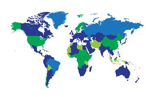 World map borders blue and green
