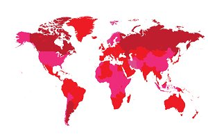 World map countries flat pink color