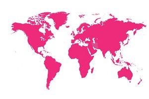 World map pink color flat design