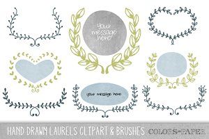 Hand Drawn Laurels Clipart & Brushes