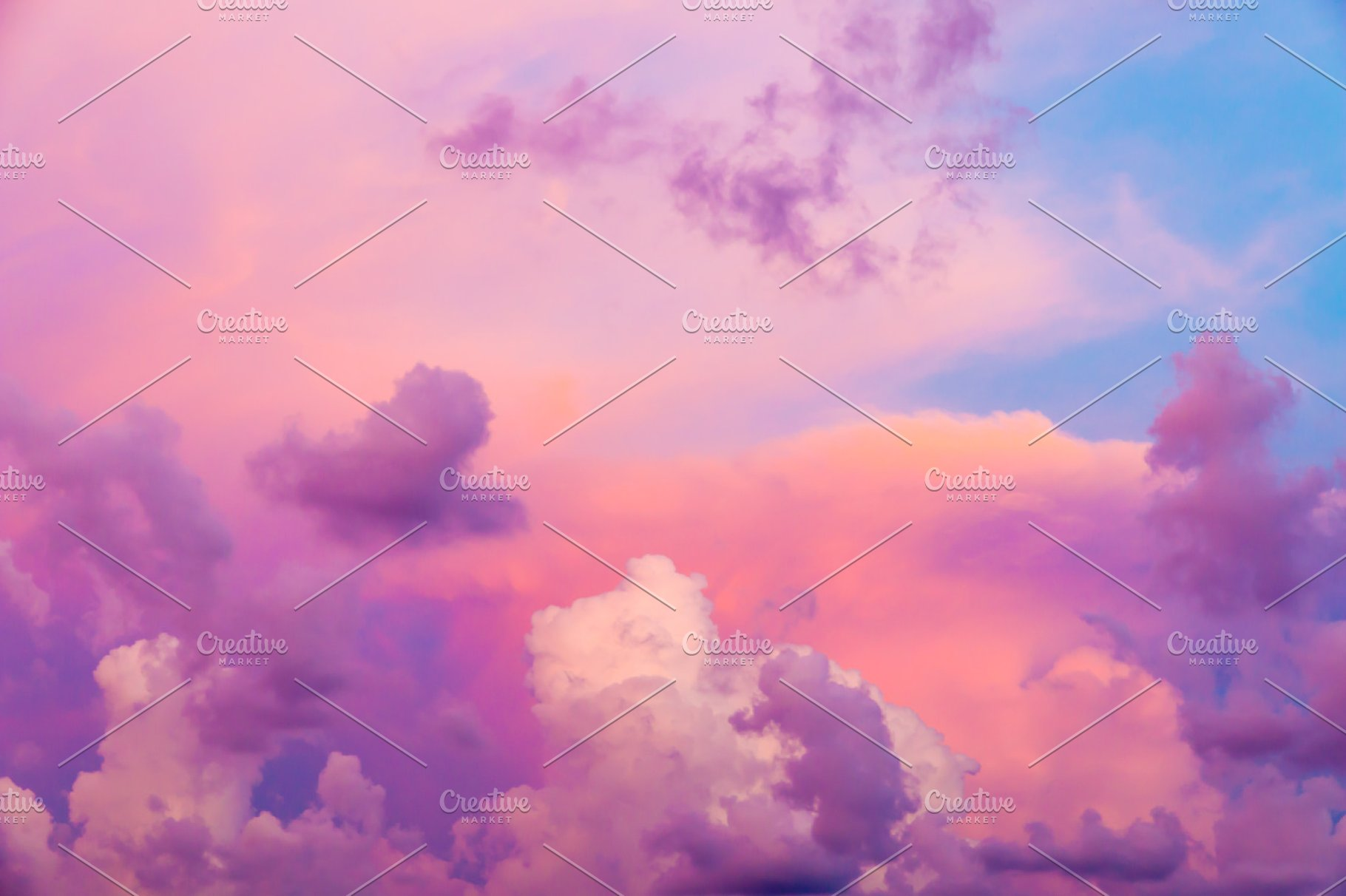 Intense Color Clouds On Sunset Sky High Quality Nature Stock