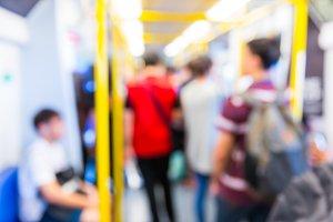 Blur people in train