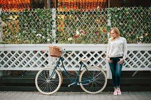 Happy Woman on Vintage Bicycle