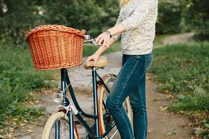 Happy Woman on Vintage Bicycle