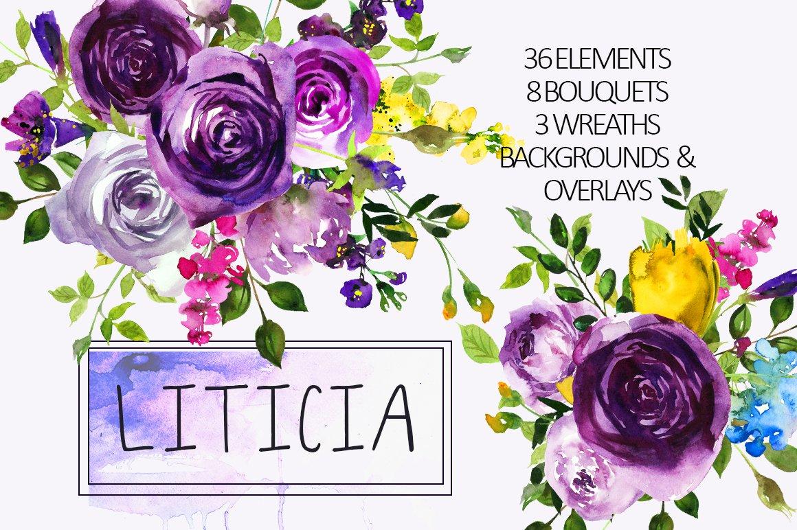Purple violet flowers clipart set illustrations creative market izmirmasajfo
