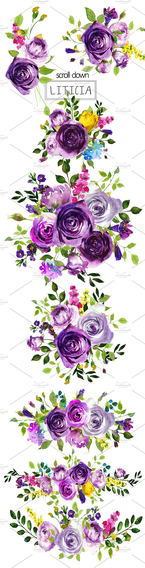 Purple Violet Flowers Clipart Set ~ Illustrations ~ Creative Market