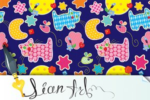 Seamless pattern -cat, mouse, stars