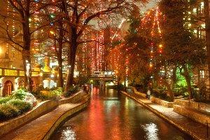 Christmas lights at river-walk