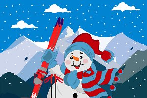 snowman with skies and mountains