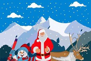 Santa Claus, snowman, deer
