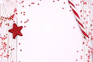 Pure white leaf and red decorations
