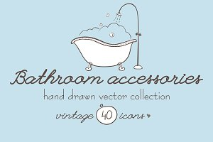 Bathroom accessories hand drawn set