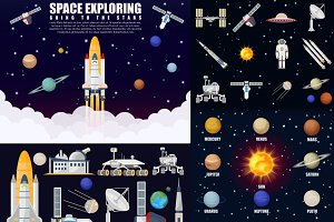 Space exploring, solar system set.