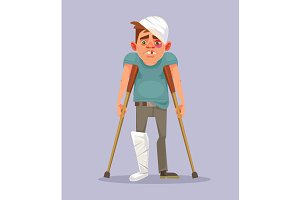 Sad man character with broken leg