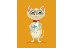 Happy cat character hold milk bottle