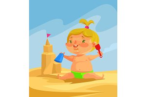 Child character builds sand castles