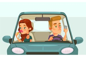 Couple car driving
