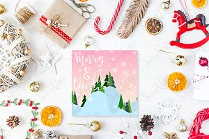 Cute vintage christmas new year gifts mock up