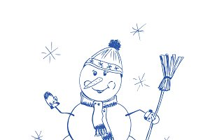 Snowman, hand drawing, vector