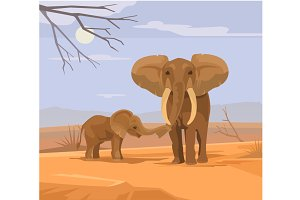 Two elephants characters in Africa