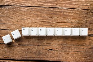 the word impossible of keyboard keys