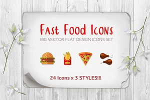 SALE!!! Fast Food Icon set 24x3