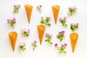 Ice cream waffle cones pattern