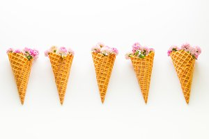 Row of  the ice cream  waffle cones