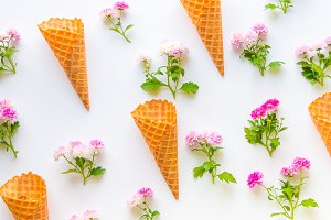 Ice cream waffle cones and flowers